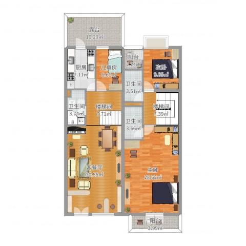 海逸豪庭3室2厅3卫1厨156.00㎡户型图