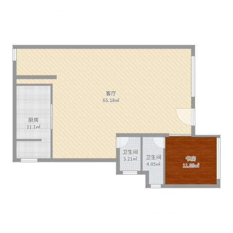 棕榈岛1室1厅2卫1厨118.00㎡户型图