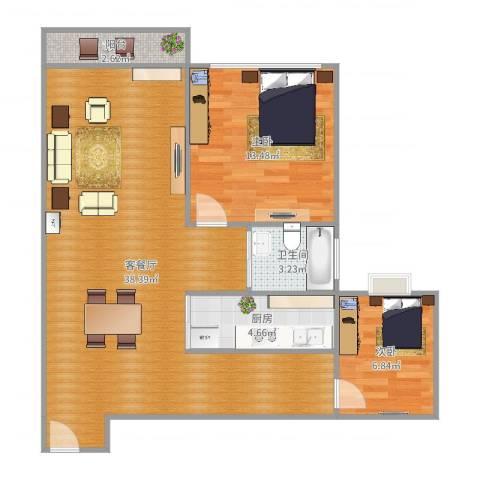 都市阳光名苑2室2厅1卫1厨87.00㎡户型图