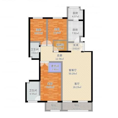 本家润园3室2厅2卫2厨163.00㎡户型图