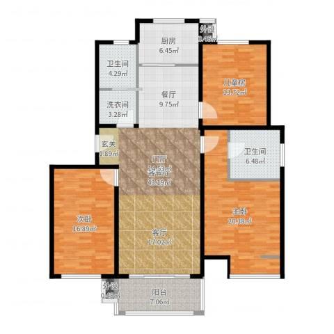 水云间蓝湾3室2厅2卫1厨153.00㎡户型图