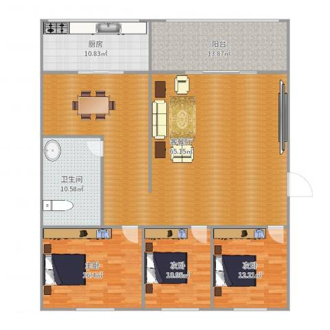 国税局家属院3室2厅1卫1厨141.00㎡户型图