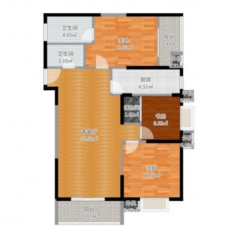 东方米兰3室2厅2卫1厨112.00㎡户型图