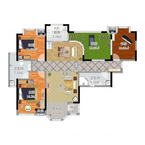 东方米兰3室2厅2卫1厨153.00㎡户型图