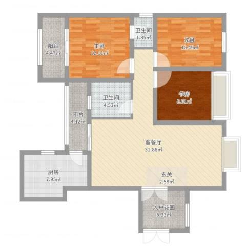 电信花园3室2厅2卫1厨114.00㎡户型图