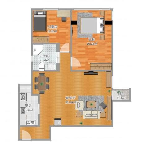 锦海大厦2室2厅1卫1厨85.00㎡户型图