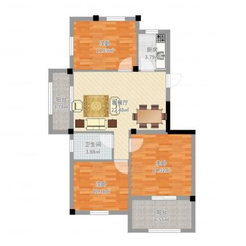 大地城市经典3室2厅1卫1厨96.00㎡户型图