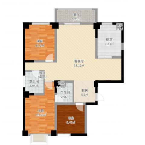 海唐南寒圣都3室2厅2卫1厨115.00㎡户型图