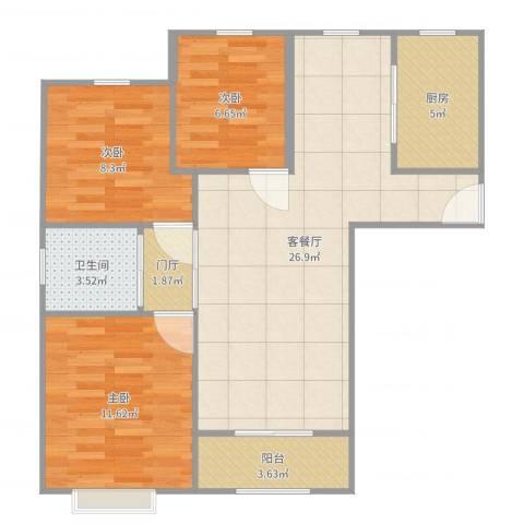 嘉利华府庄园3室2厅1卫1厨84.00㎡户型图