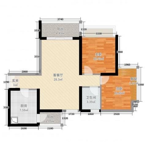 东风广场2室2厅1卫1厨84.00㎡户型图