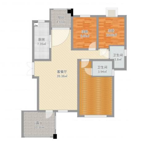 栾城天山水榭花都2室2厅2卫1厨136.00㎡户型图