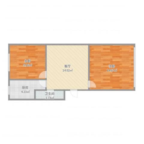建材城西一里2室1厅1卫1厨55.00㎡户型图