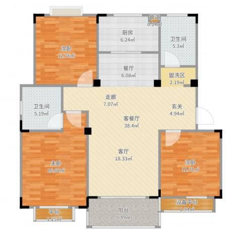 惠泽云锦城3室2厅2卫1厨131.00㎡户型图