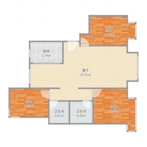 东湖湾C3-西单元-东户3室1厅2卫1厨105.00㎡户型图