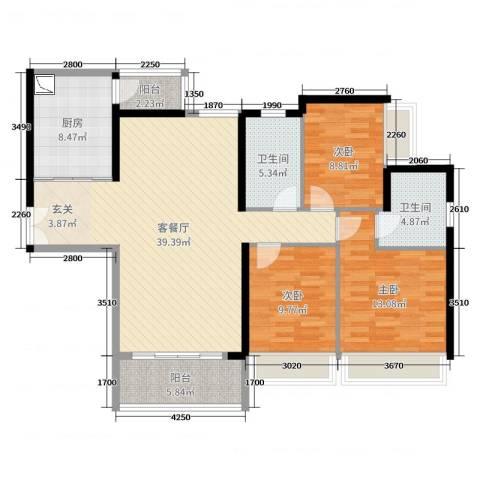 东风广场3室2厅2卫1厨120.00㎡户型图