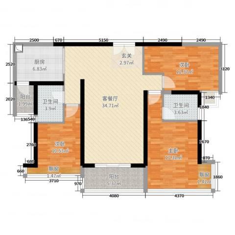 东风广场3室2厅2卫1厨121.00㎡户型图
