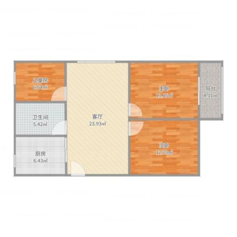 曙光新苑3-2-13室1厅1卫1厨90.00㎡户型图