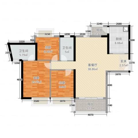 东风广场3室2厅2卫1厨123.00㎡户型图