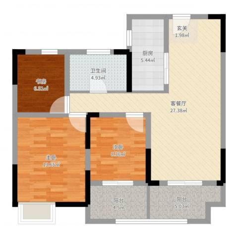 银洲皇家花园二期皇家学苑3室2厅1卫1厨95.00㎡户型图