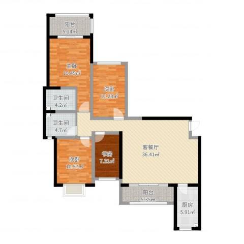 大唐世家4室2厅2卫1厨133.00㎡户型图
