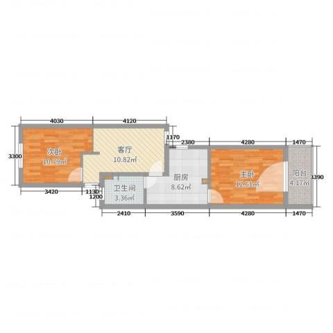静安新城十一区2室1厅1卫1厨63.00㎡户型图
