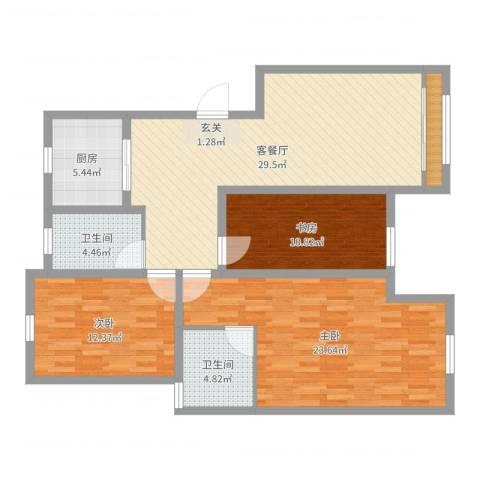 天恒王府3室2厅2卫1厨116.00㎡户型图