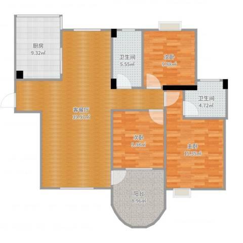 水墨丹青3室2厅2卫1厨130.00㎡户型图