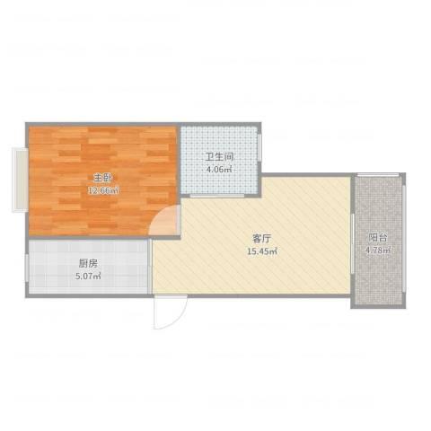 好日子大家园C区1室1厅1卫1厨53.00㎡户型图