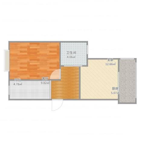好日子大家园C区1室1厅1卫1厨52.00㎡户型图
