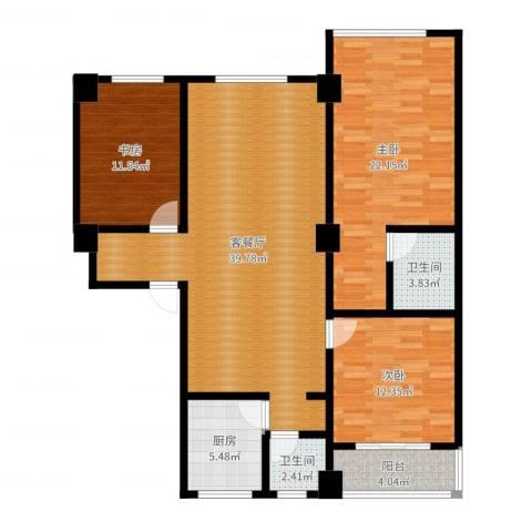 合鑫广场3室2厅2卫1厨127.00㎡户型图
