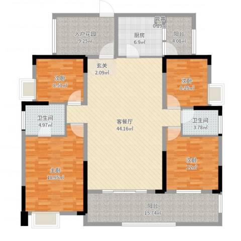 融科海阔天空二期4室2厅2卫1厨171.00㎡户型图