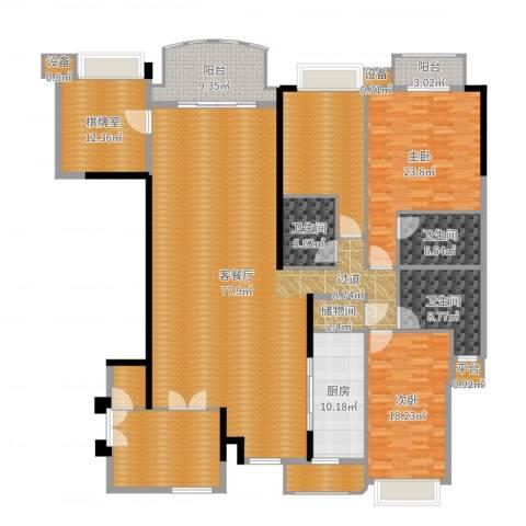 华明园2室2厅3卫1厨268.00㎡户型图