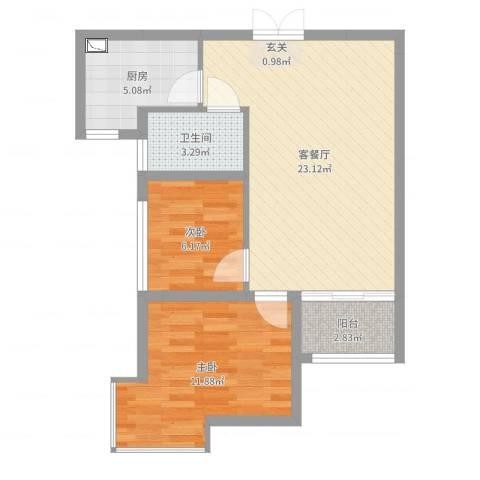 聚龙华府2室2厅1卫1厨65.00㎡户型图