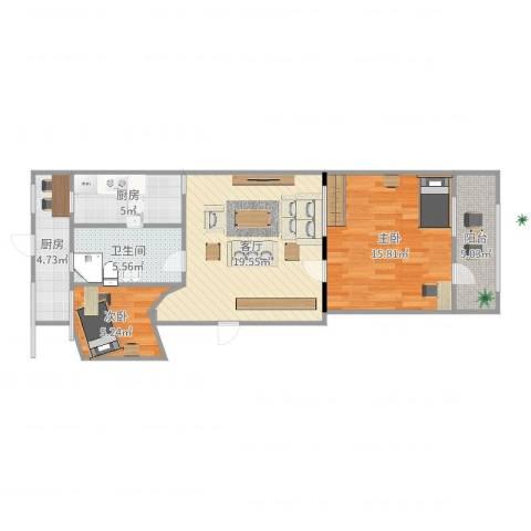 回民小区2室1厅1卫2厨76.00㎡户型图