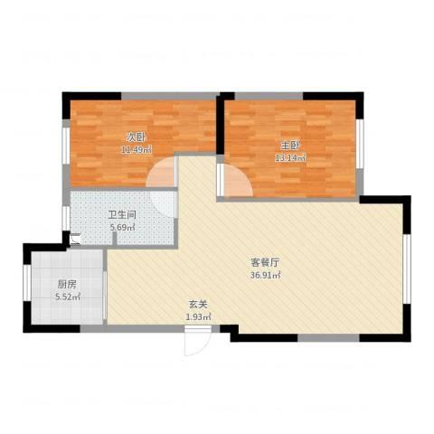 依云溪谷二期2室2厅1卫1厨91.00㎡户型图