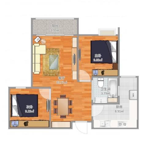 联心嘉园2室1厅1卫1厨74.00㎡户型图