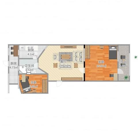 回民小区2室1厅1卫2厨75.00㎡户型图