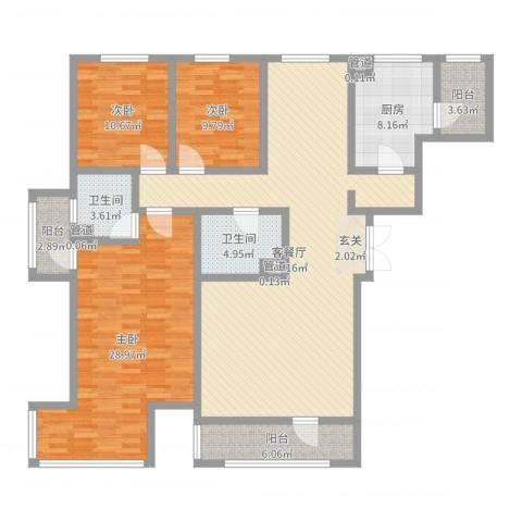 海逸长洲恋海园3室2厅2卫1厨160.00㎡户型图