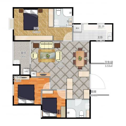 世家英伦3室1厅2卫1厨106.00㎡户型图