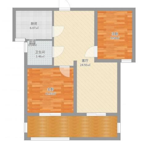 中央花城2室1厅1卫1厨85.00㎡户型图