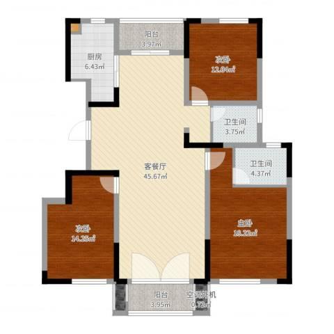 绿地泊林公馆3室2厅2卫1厨143.00㎡户型图