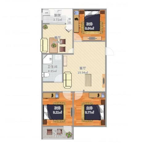 七里堡小区3室2厅1卫1厨85.00㎡户型图