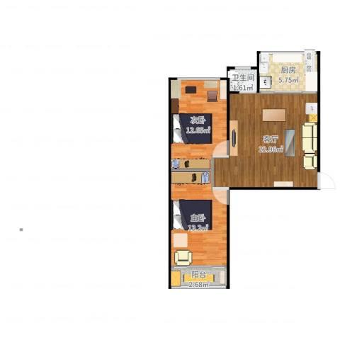 豪景南苑2室1厅1卫1厨74.00㎡户型图