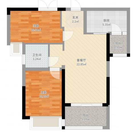 港湾江城2室2厅1卫1厨73.00㎡户型图