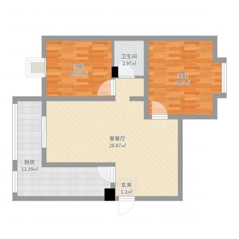 紫郡观澜2室2厅1卫1厨86.00㎡户型图