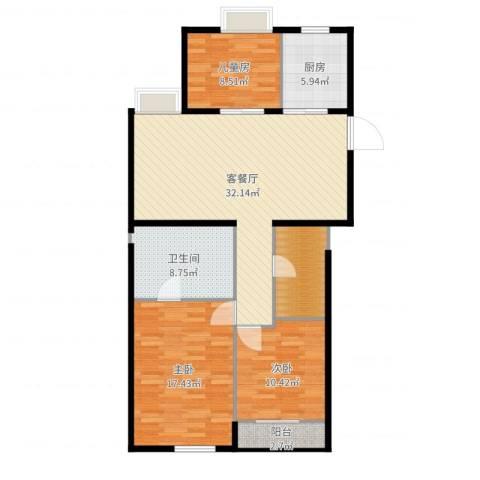 栖庭3室2厅1卫1厨114.00㎡户型图