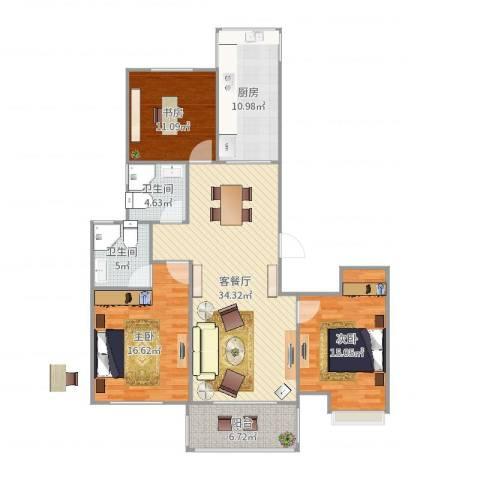 华邦国际1103室2厅2卫1厨131.00㎡户型图