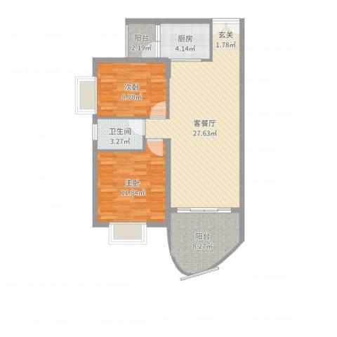 溪冲工人度假村2室2厅1卫1厨83.00㎡户型图