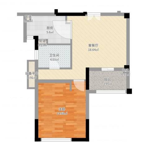 华辰国际1室2厅2卫4厨60.00㎡户型图