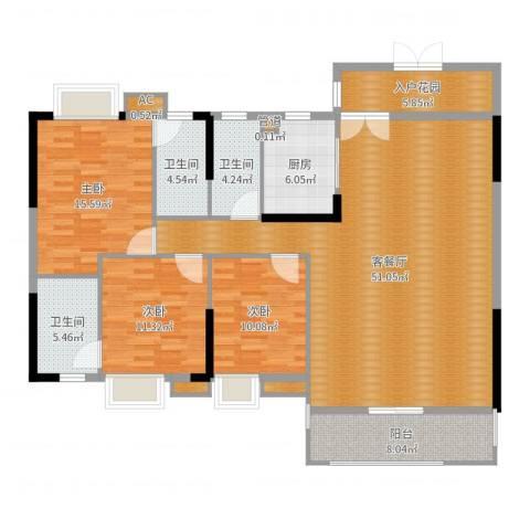 中恒公园大地花园3室2厅3卫1厨155.00㎡户型图